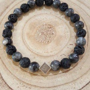 Tumoda Lava Black – Labradorite anthracite & Antique silver detail