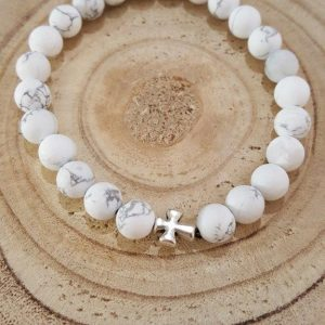 Tumoda Marble White & Antique silver cross detail